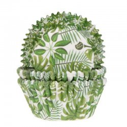 Caissette cupcake Feuilles tropicales pk/50 House of Marie