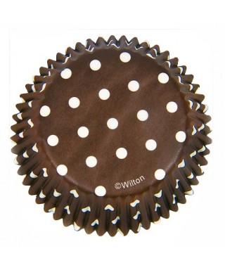 Caissette cupcake Marron à pois pk/75 Wilton