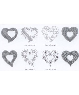 Set de 4 découpoirs motifs Coeur dentelles JEM