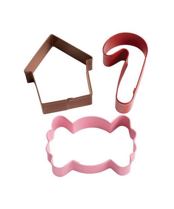 Emporte-pièce métal bonbon, canne à sucre, maison pain d'épice set/3 Wilton