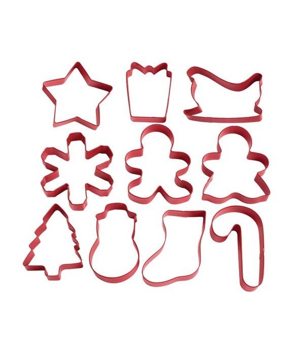 Emporte-pièce métal délicieux Noël set/10 Wilton