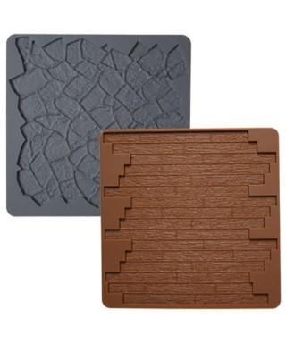 Tapis silicone Texture Pierre Bois Set / 2 Wilton
