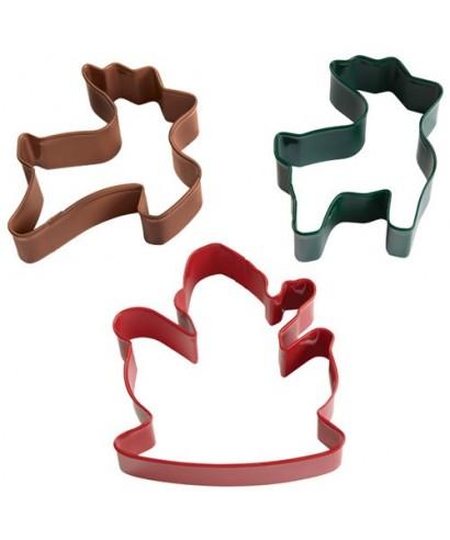 Emporte-pièce métal Père Noel et ses renne set/3 Wilton