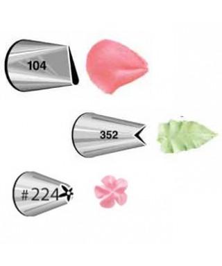 Set de 3 Douille Pétale 104, feuille 352, fleur 224 Wilton