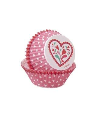 Caissettes de Saint-Valentin rouge, rose et blanche pk/75 Wilton