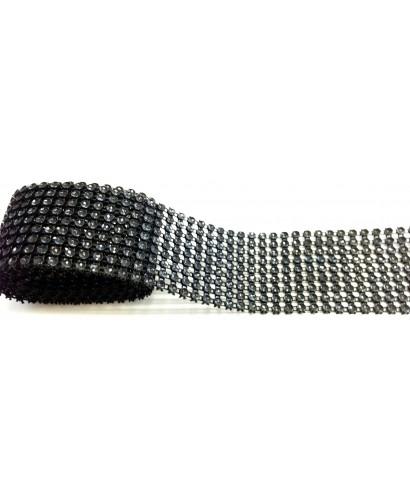 Bande de strass Noir 4,5 cm de haut