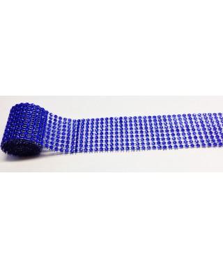 Bande de strass Bleu 4,5 cm de haut