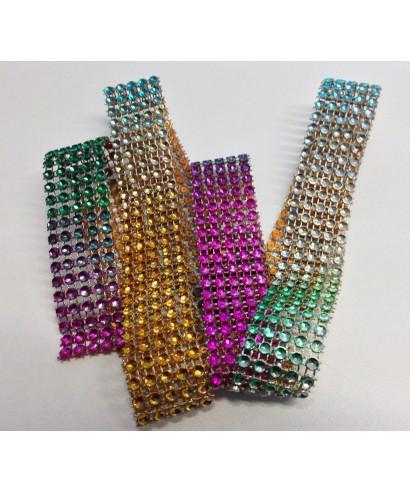 Bande de strass Multi Color 2,5 cm de haut