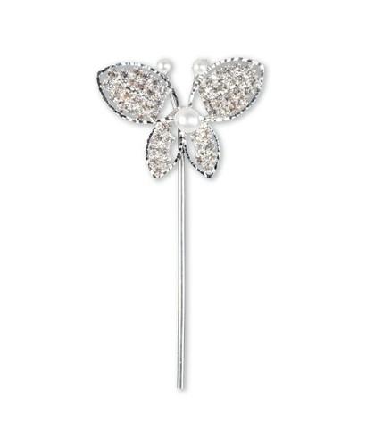 Papillon strass et perle sur tige pour gâteaux