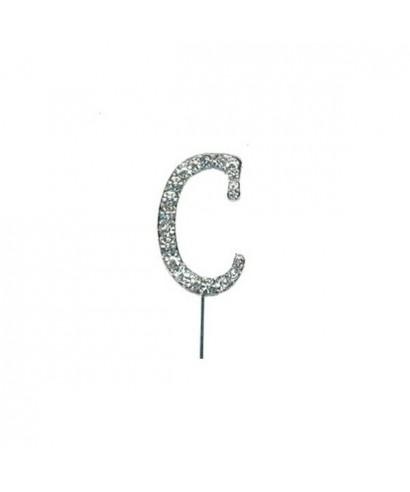 Lettre C en Diamant et Strass pour gâteaux