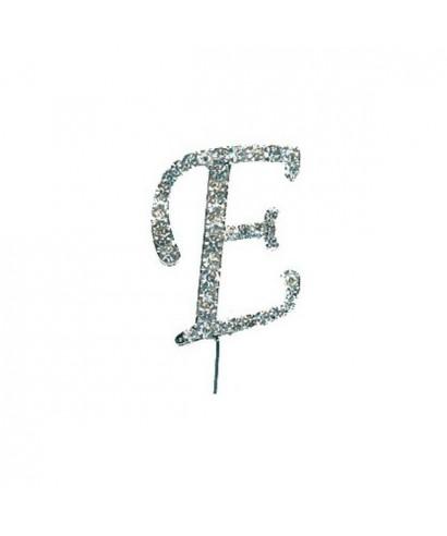 Lettre E en Diamant et Strass pour gâteaux