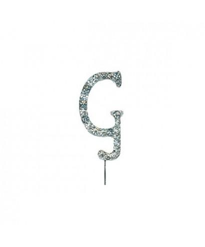 Lettre G en Diamant et Strass pour gâteaux