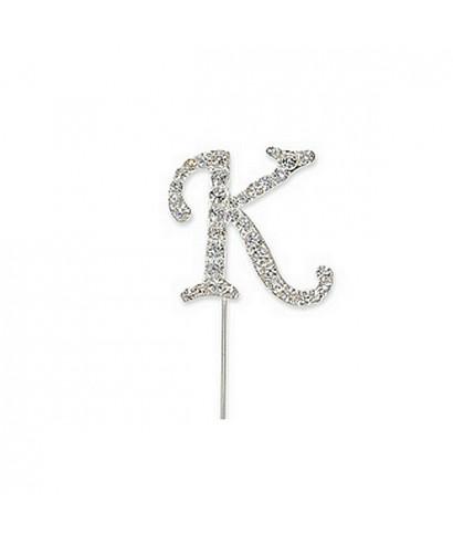 Lettre K en Diamant et Strass pour gâteaux