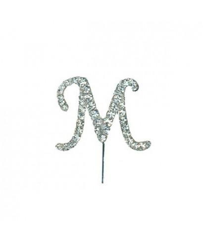 Lettre M en Diamant et Strass pour gâteaux