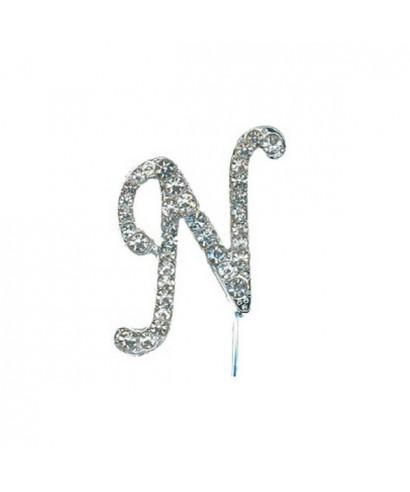 Lettre N en Diamant et Strass pour gâteaux