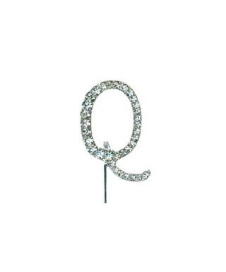 Lettre Q en Diamant et Strass pour gâteaux