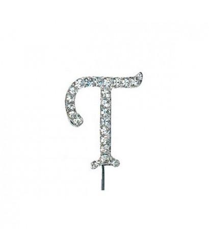 Lettre T en Diamant et Strass pour gâteaux