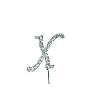 Lettre X en Diamant et Strass pour gâteaux