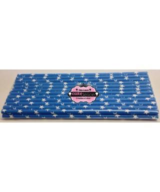 Bâtonnets à cake pop Bleu étoiles Blanche