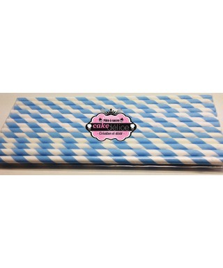Bâtonnets à cake pop Blancs rayures Bleu pastel