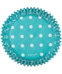 Caissette cupcake Bleu à pois pk/75 Wilton