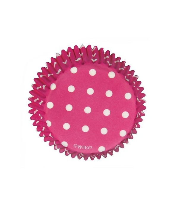 Caissette cupcake Rose à pois pk/75 Wilton