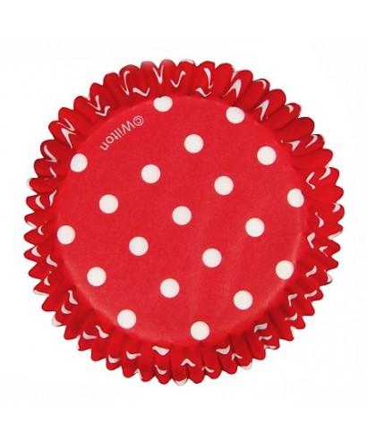 Caissette cupcake Rouge à pois pk/75 Wilton