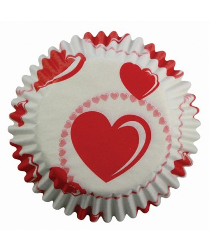 Caissettes à Cupcake cœurs rouges pk/60 PME