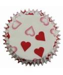 Caissettes à Cupcake petits cœurs rouges pk/60 PME