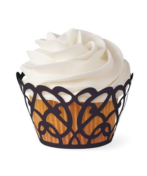 Caissette cupcake wrap Tourbillon noir Wilton