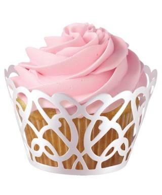 Caissette cupcake wrap Tourbillon Blanc Wilton