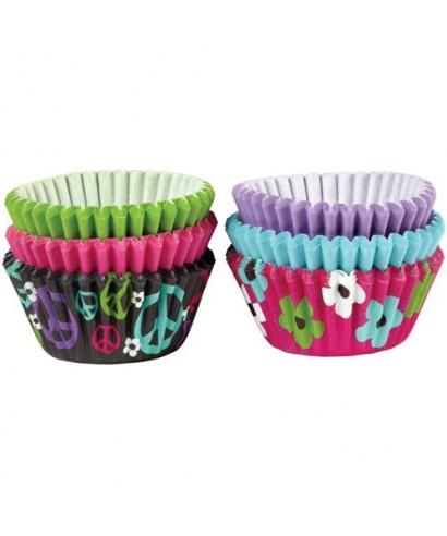 "Mini Caissettes ""Peace and Flower"" pk/150 Wilton"