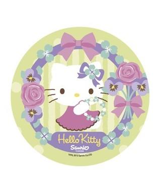 Disque pâte à sucre Hello Kitty roses et noeud