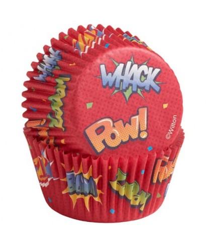 """Caissettes Cupcake """"Pow !"""" set/75 Wilton"""