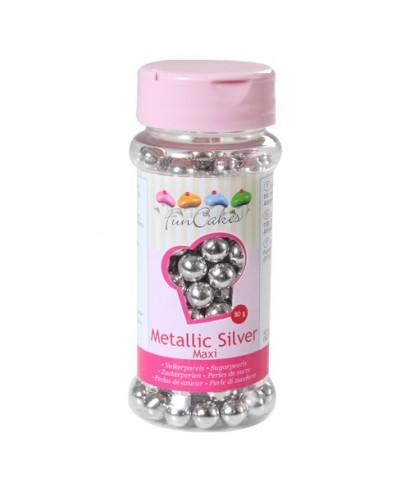 Perle de Sucre 8 mm Argent métallique 80g FunCakes