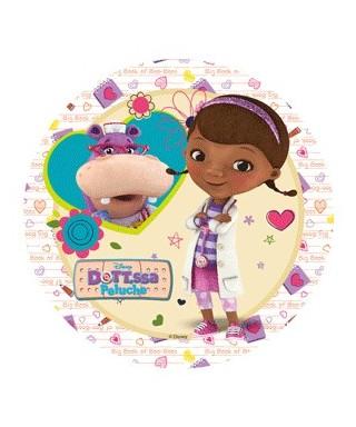 Disque pâte à sucre Docteur la peluche et Hallie en coeur Disney