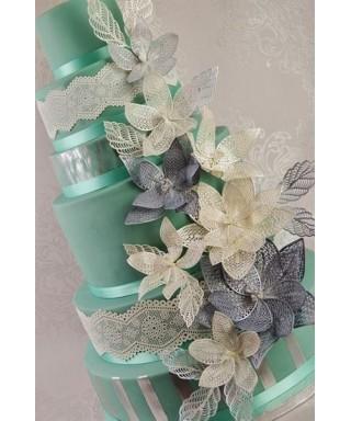 Tapis dentelle Feuilles et pétales de fleurs 3D Cake Lace