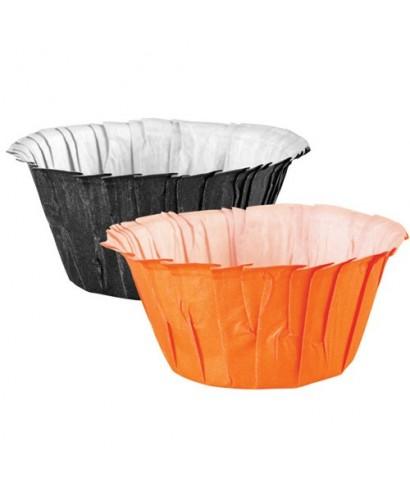 Caissettes en Papier Plissé Noir-Orange set/24 Wilton