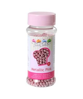 Perle de Sucre Rose métallique 80 gr FunCakes