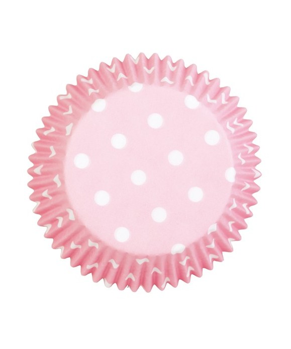 Caissette cupcake rose clair à pois pk/75 Wilton