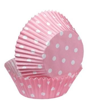 Caissette cupcake Polka Rose à pois pk/75 Wilton