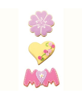 Emporte-pièce métal fleur, coeur, mom Wilton