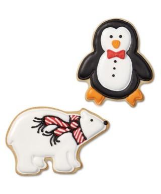 Emporte-pièce métal Ours polaire, Pingouin et Boule de neige Wilton