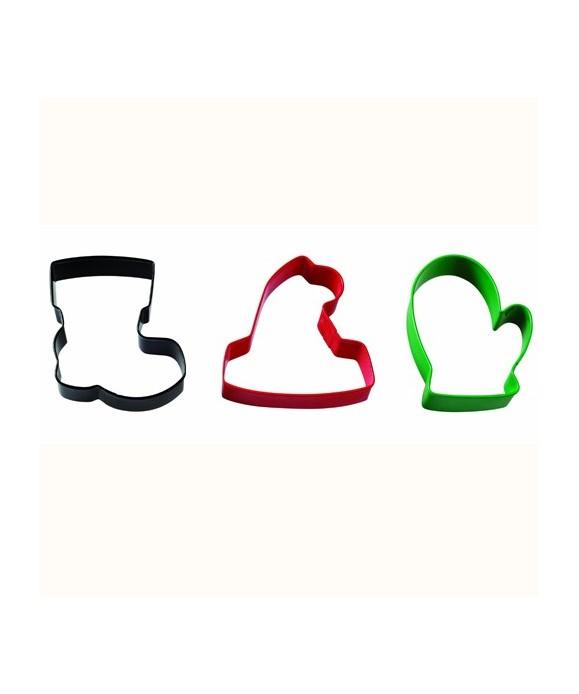 Emporte-pièce métal chapeau, gant et botte de Noël set/3 Wilton