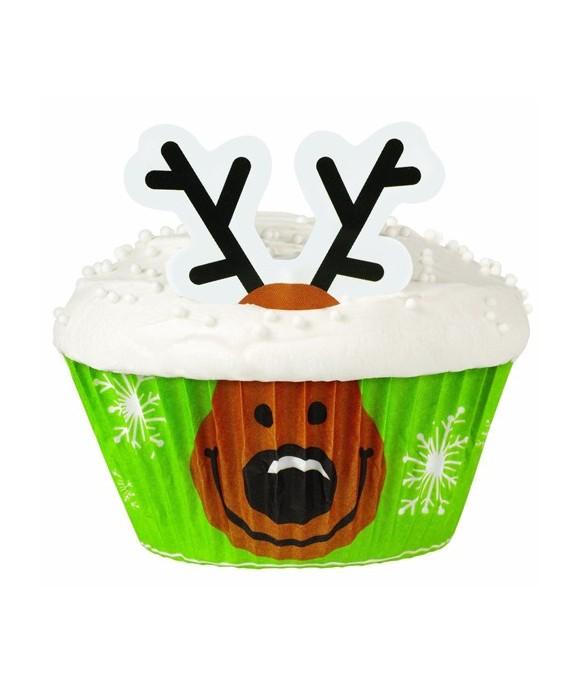 Décoration cupcakes Cerf de Noël Wilton