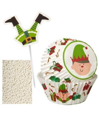 Décoration cupcakes Elfe de Noël pk/48 Wilton