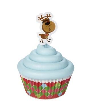 Caissettes à cupcakes Rennes amusants pk/24 Wilton