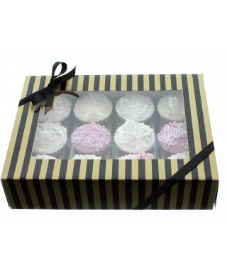 Boîte Chic pour Douze Cupcake Or et Noir