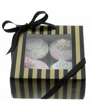 Boîte Chic pour 4 Cupcakes Or et Noir