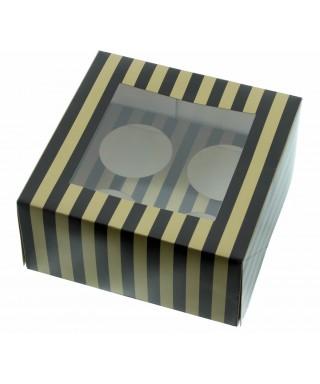Boîte Chic pour Quatre Cupcakes Or et Noir